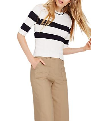 Damsel in a Dress Selena Stripe Jumper, Ivory/Navy