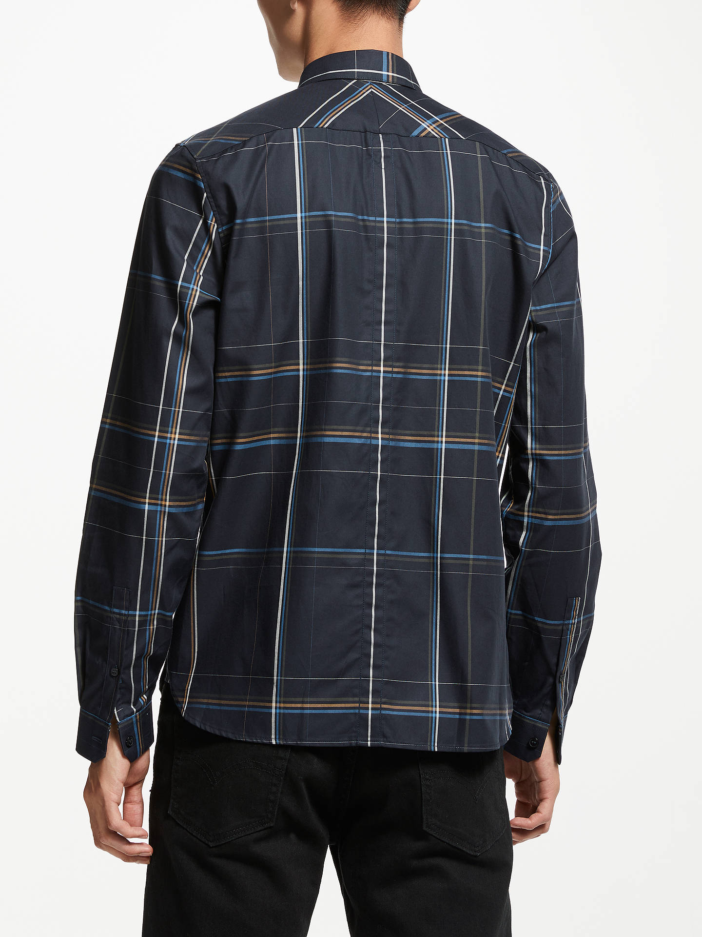 e55721a2 Buy Fred Perry Long Sleeve Large Check Shirt, Blue, M Online at johnlewis.
