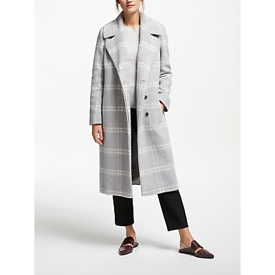 Modern Rarity Check Wool Rich Coat, Grey