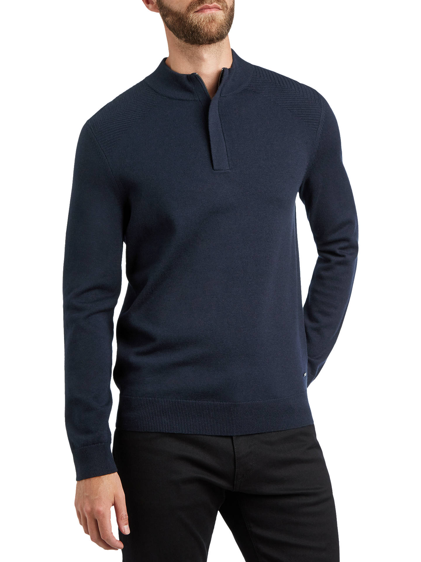 Buy BOSS Esilvio Knit Detail Jumper, Open Blue, L Online at johnlewis.com