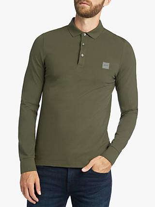 BOSS Long Sleeve Polo Shirt, Dark Green