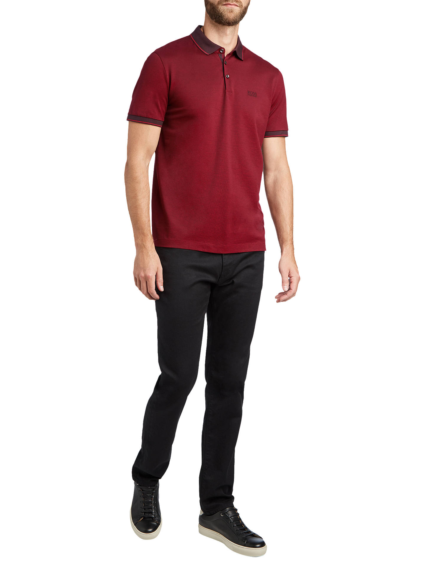 BuyBOSS Prout Short Sleeve Polo Shirt, Dark Brown, S Online at johnlewis.com