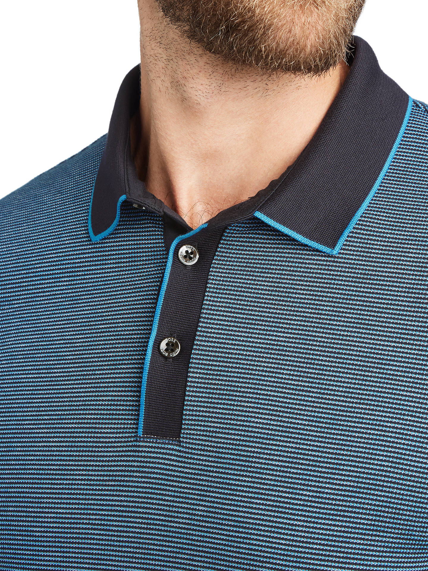 Buy BOSS Penrose Short Sleeve Polo Shirt, Open Blue, M Online at johnlewis.com