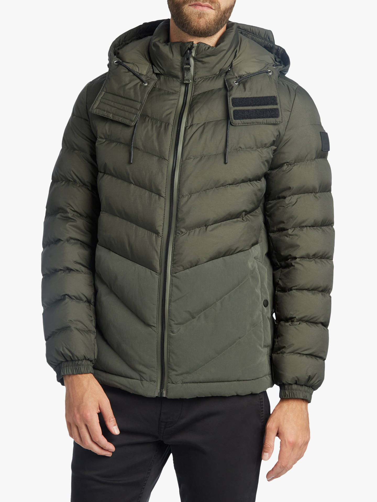 Buy BOSS Obrook Quilted Jacket, Dark Green, 38R Online at johnlewis.com