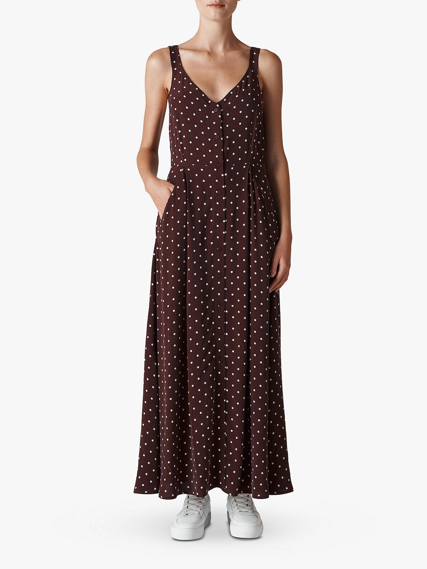 ba0f20ea1e13 Buy Whistles Spot Print Maxi Dress, Burgundy, 6 Online at johnlewis.com ...