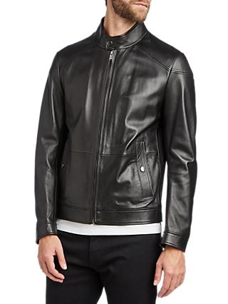 BOSS Nocan Leather Jacket, Black