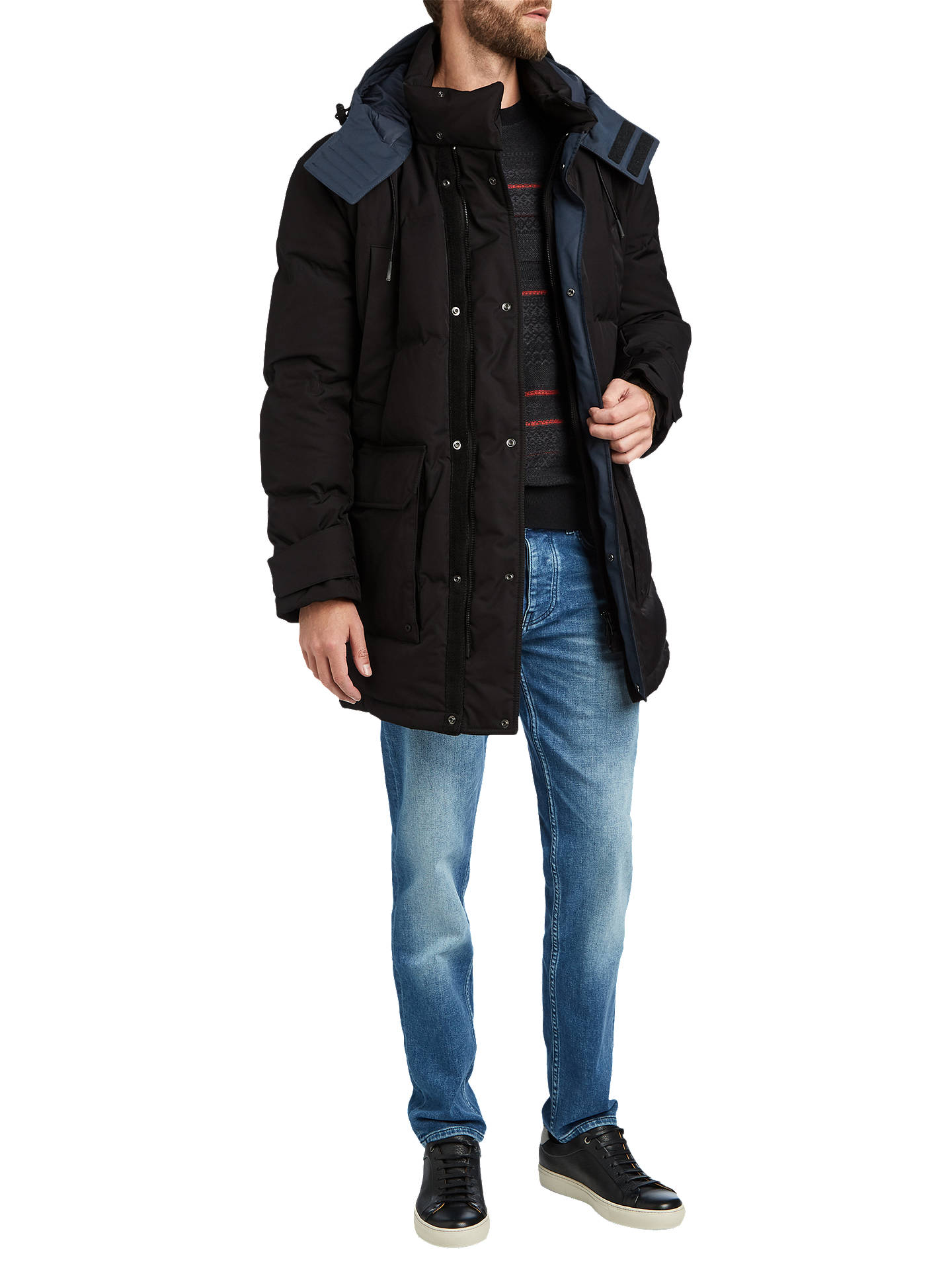 BuyBOSS Onek Hooded Parka Jacket, Black, 38R Online at johnlewis.com