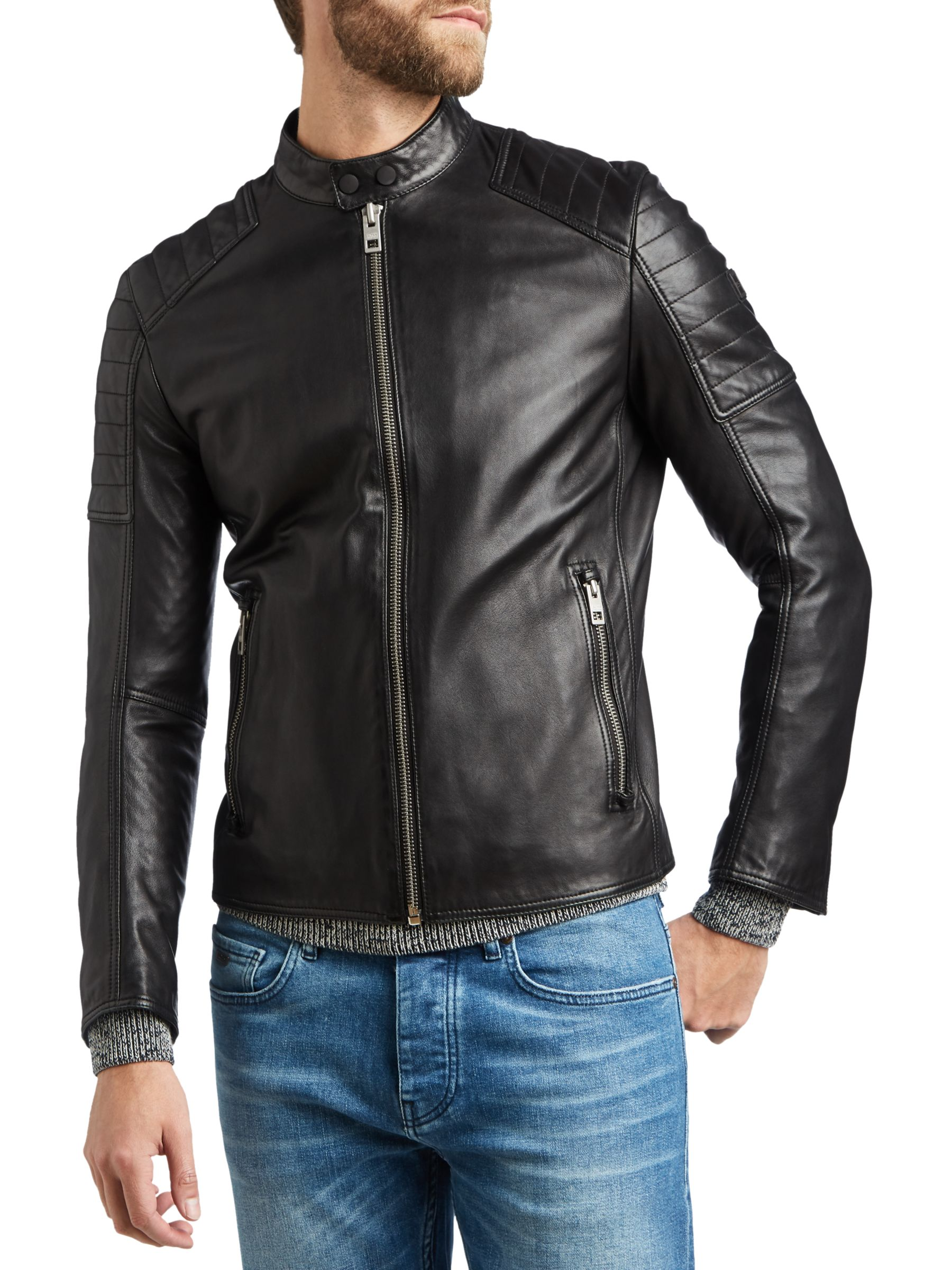 hugo boss leather jacket sale
