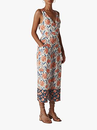 Whistles Floral Border Print Jumpsuit, Multi