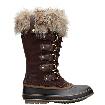 Sorel Joan Of Arctic Long Lace Up Snow Boots, Brown Suede