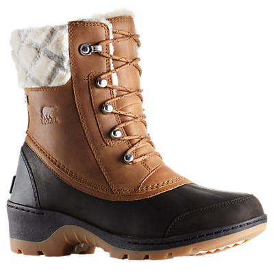 Sorel Whistler Lace Up Ankle Snow Boots, Brown Leather