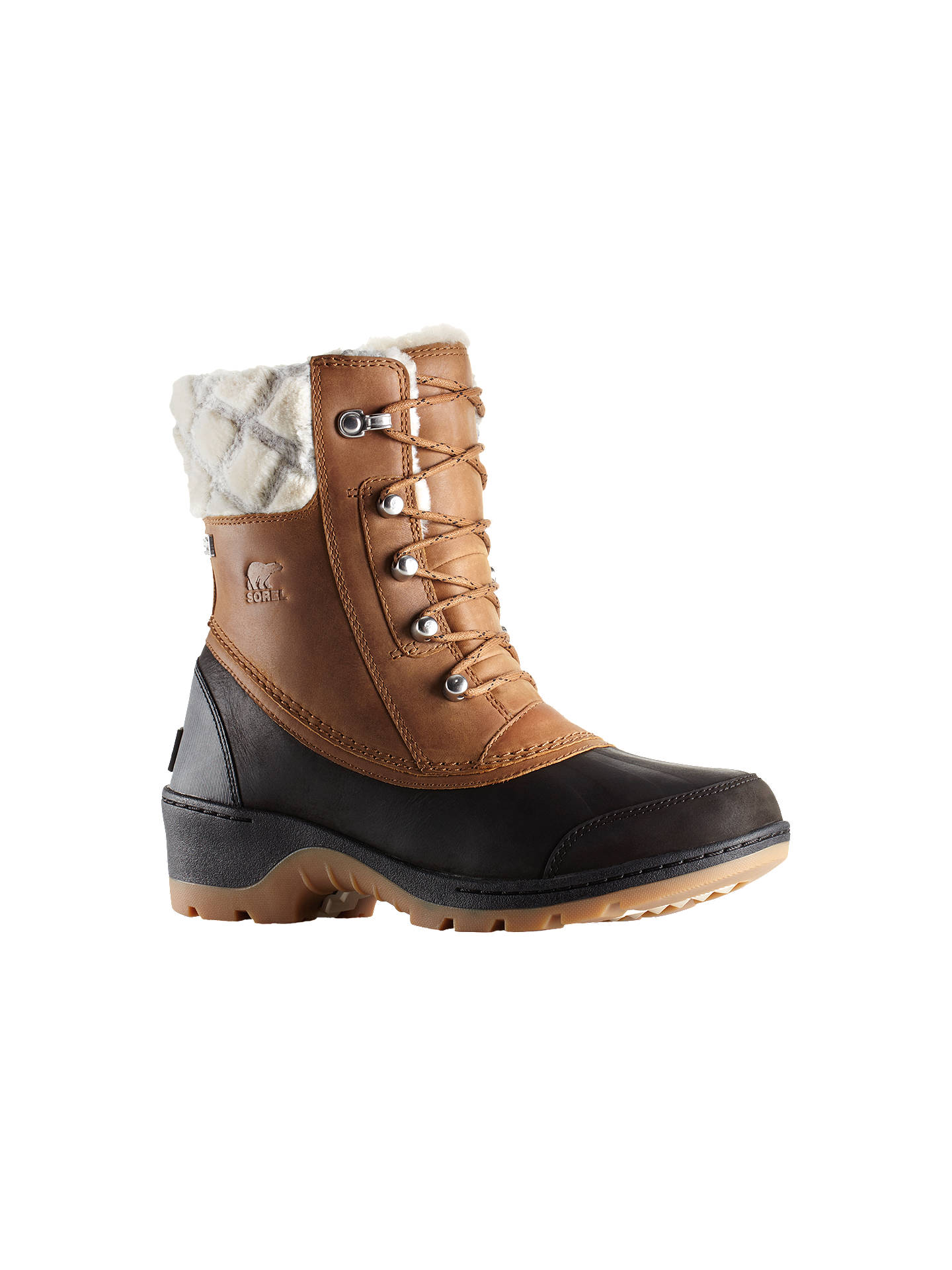 BuySorel Whistler Lace Up Ankle Snow Boots, Brown Leather, 4 Online at johnlewis.com