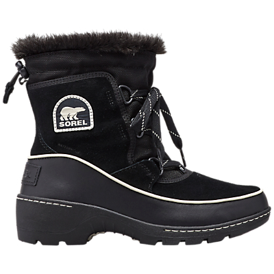 Sorel Torino Lace Up Ankle Snow Boots, Black Suede