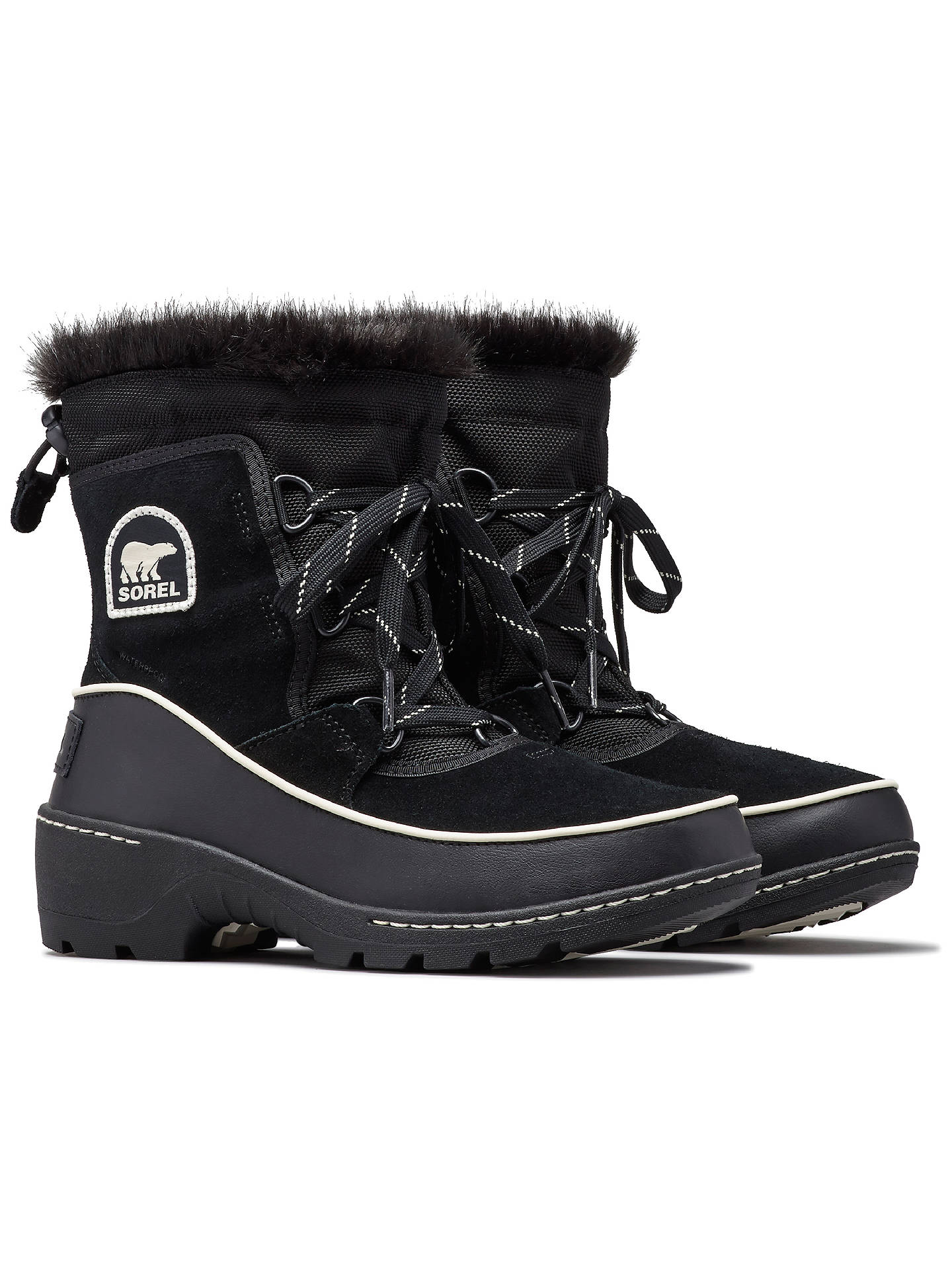 BuySorel Torino Lace Up Ankle Snow Boots, Black Suede, 6 Online at johnlewis.com