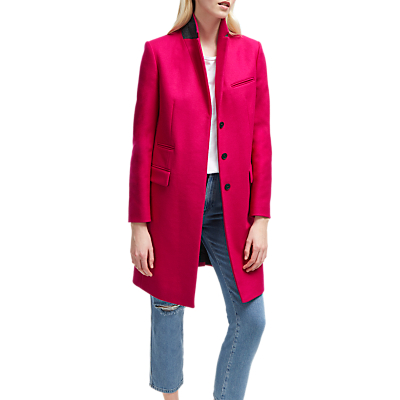 French Connection Platform Felt Single Breasted Coat, Bright Baked Cherry
