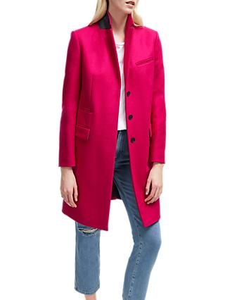 31ab86e8a61 French Connection Platform Felt Single Breasted Coat, Bright Baked Cherry