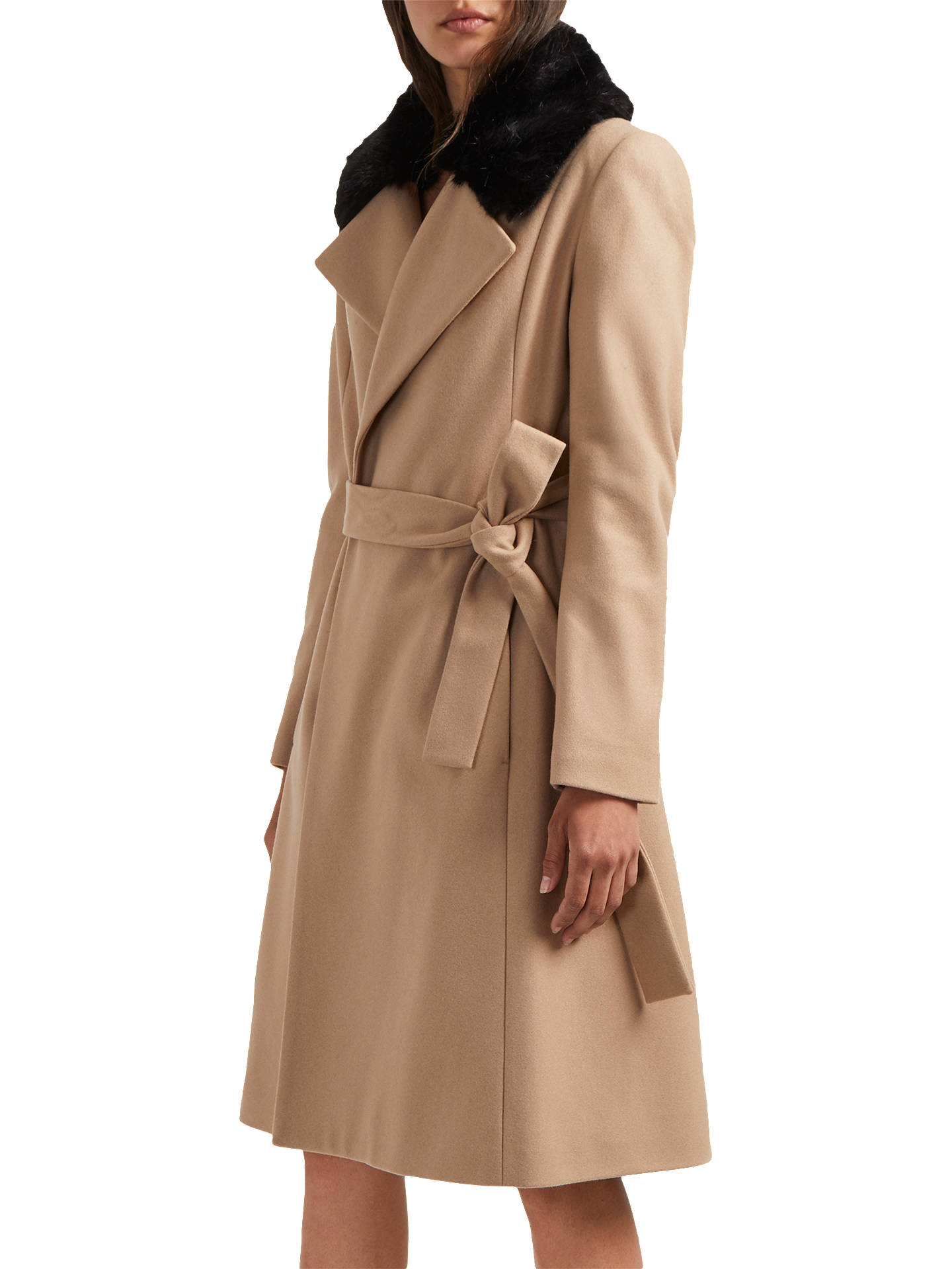 great variety styles browse latest collections shades of French Connection Fur Trim Coat, Camel at John Lewis & Partners