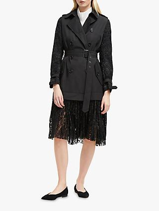 French Connection Lace Trench, Black