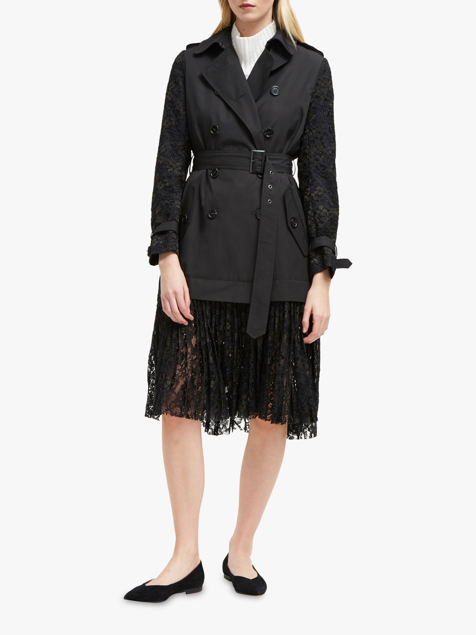 French Connection French Connection Lace Trench, Black