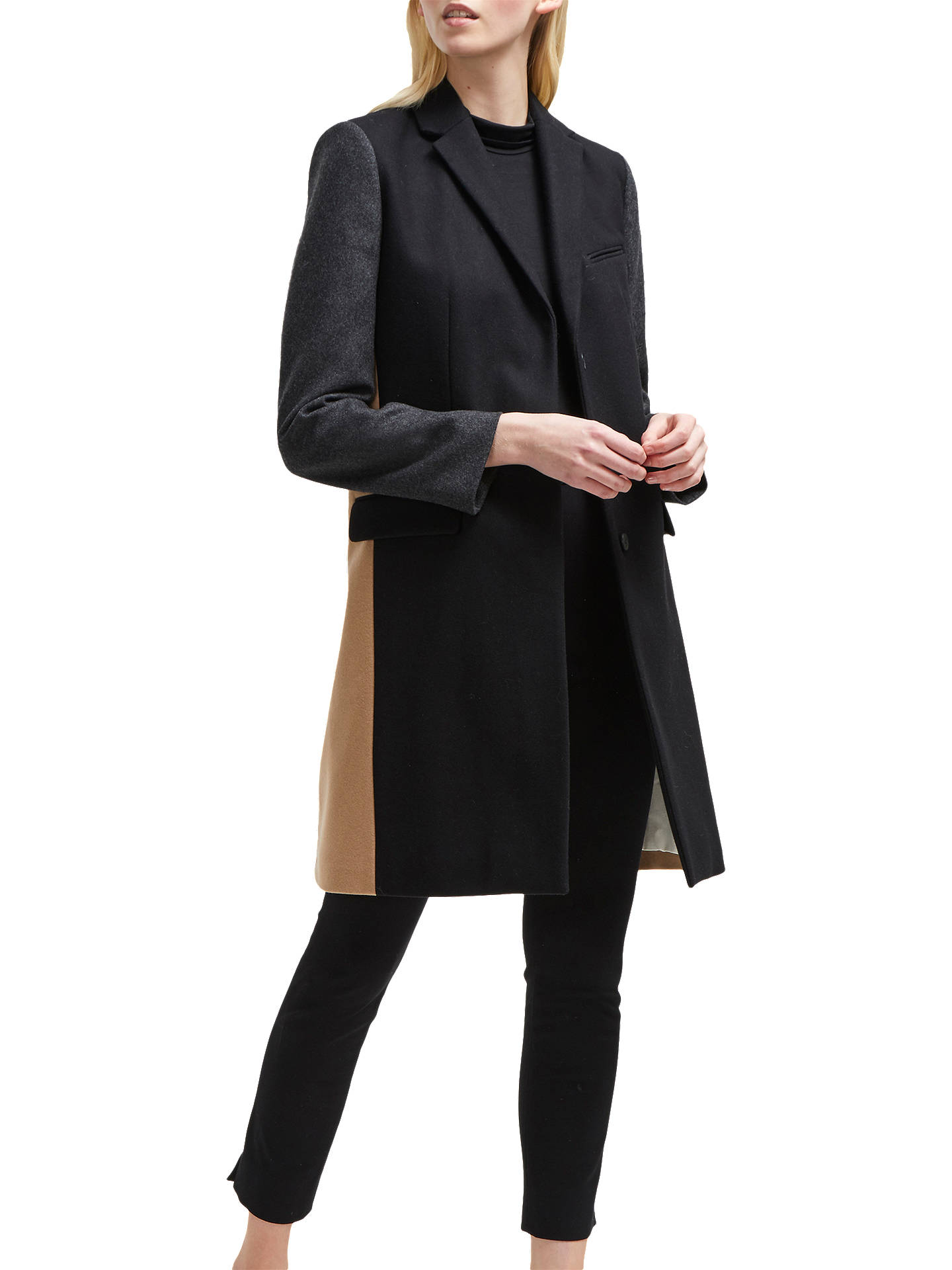 63babf2ff8a Buy French Connection Colour Block Smart Coat, Black/Multi, 6 Online at  johnlewis ...