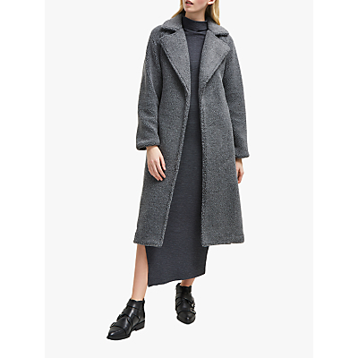 French Connection Arabella Faux Shearling Long Coat, Charcoal Grey