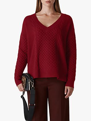 Whistles Cable V-Neck Jumper, Red