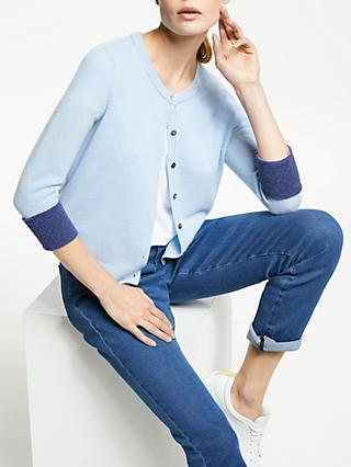Collection WEEKEND by John Lewis Turn Back Contrast Cashmere Cardigan, Light Blue/Indigo