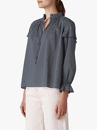 Whistles Millie Spot Tie Neck Blouse, Navy