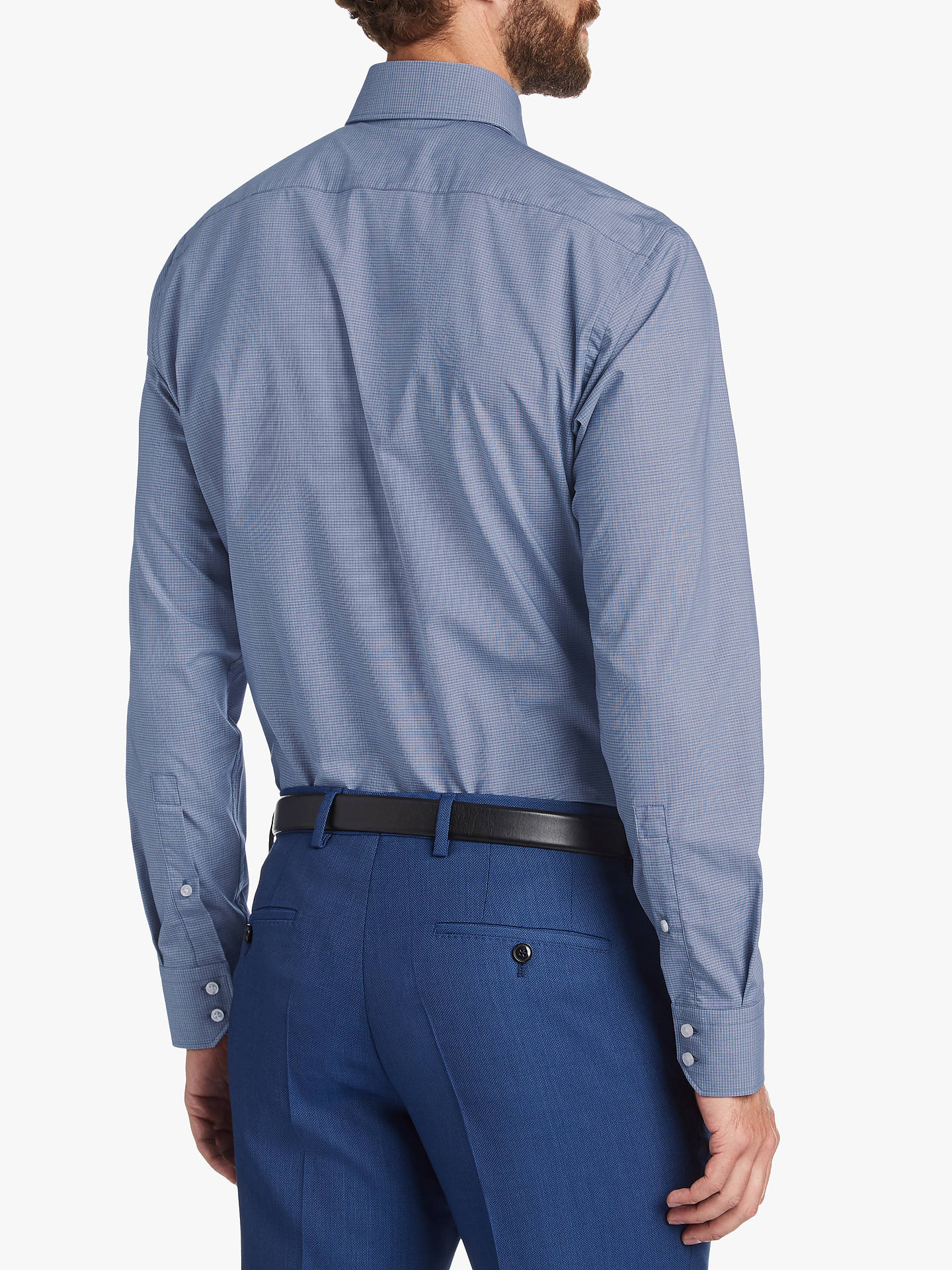 11af1463e ... Buy HUGO by Hugo Boss Veraldi Textured Regular Fit Shirt, Navy, 15  Online at ...