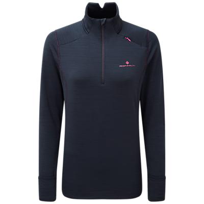 Ronhill Matrix 1/2 Zip Long Sleeve Running Top, Deep Navy/Azalea