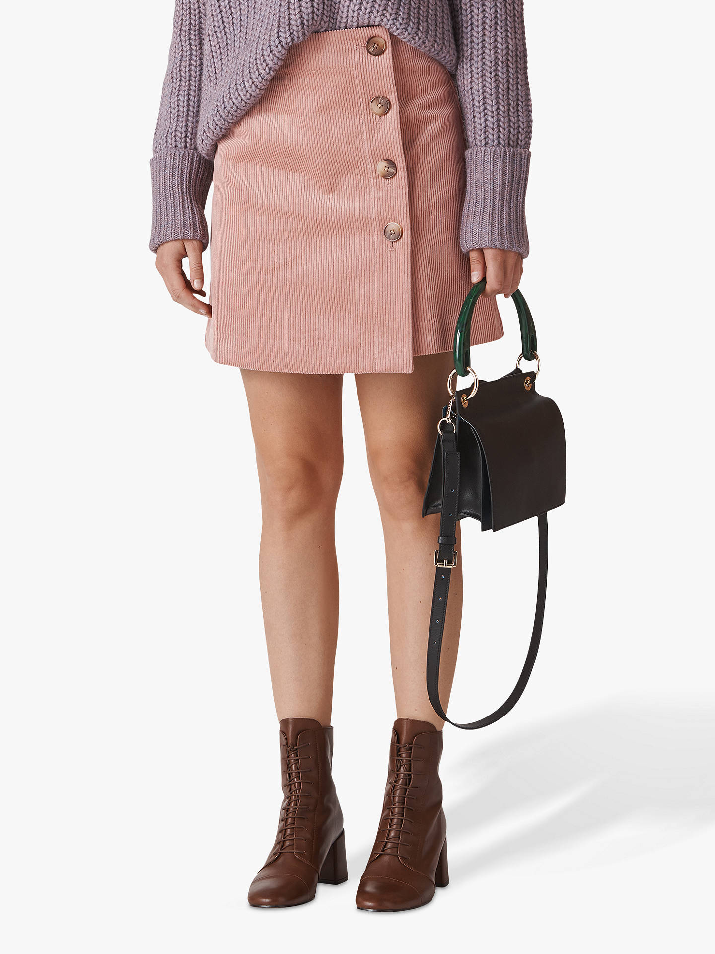 217f026f69fd Buy Whistles Cord A-Line Button Skirt, Pale Pink, 6 Online at johnlewis ...