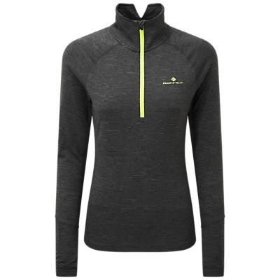 Ronhill Thermal Half-Zip Long Sleeve Running Top, Charcoal/Yellow