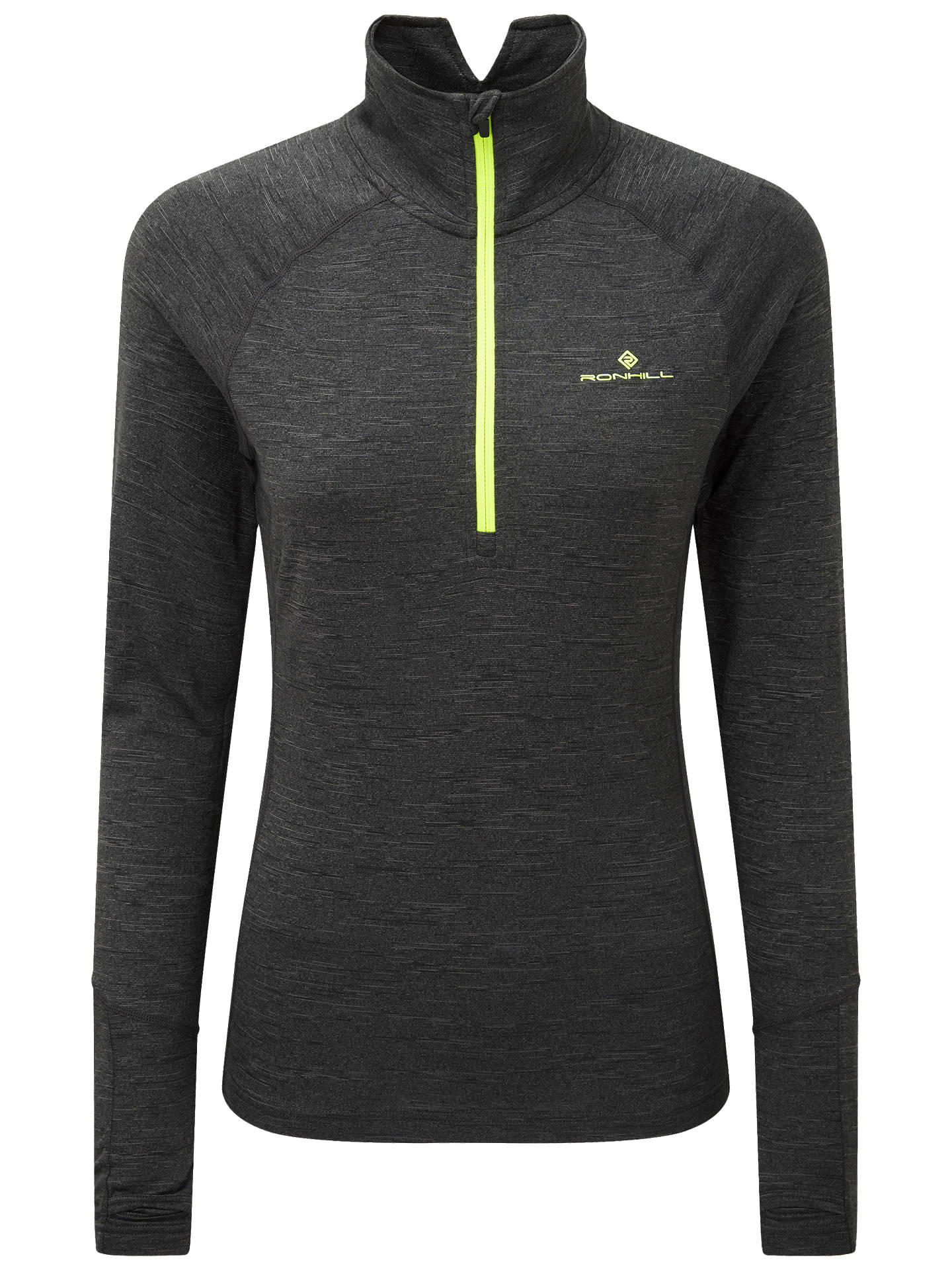 BuyRonhill Thermal Half-Zip Long Sleeve Running Top, Charcoal/Yellow, 16 Online at johnlewis.com