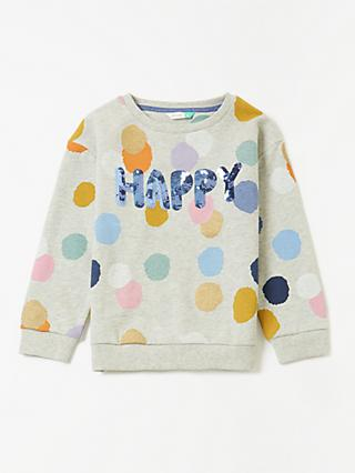 John Lewis & Partners Girls' Happy Sweatshirt, Grey