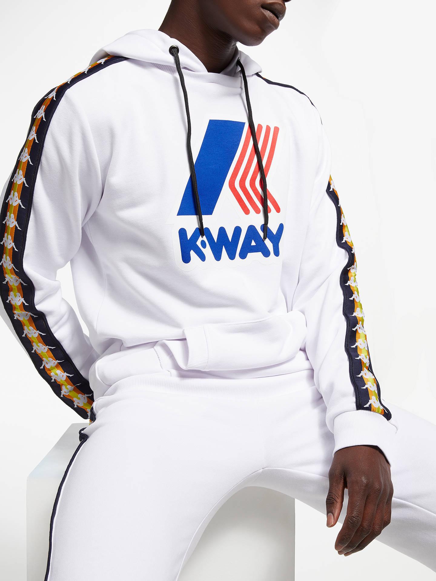 b6ca4d2ed0 K-Way x Kappa Hoodie, White at John Lewis & Partners