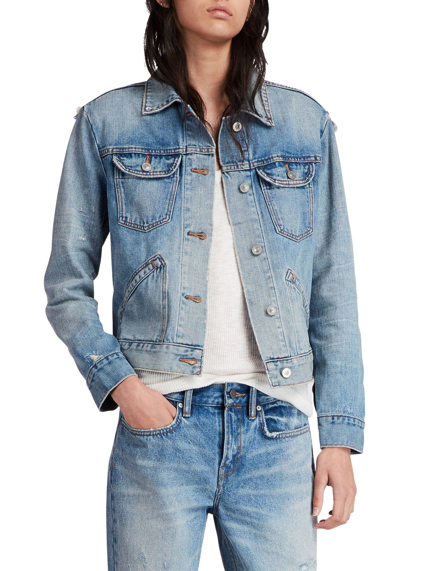 BuyAllSaints Star Denim Jacket, Indigo Blue, S Online at johnlewis.com
