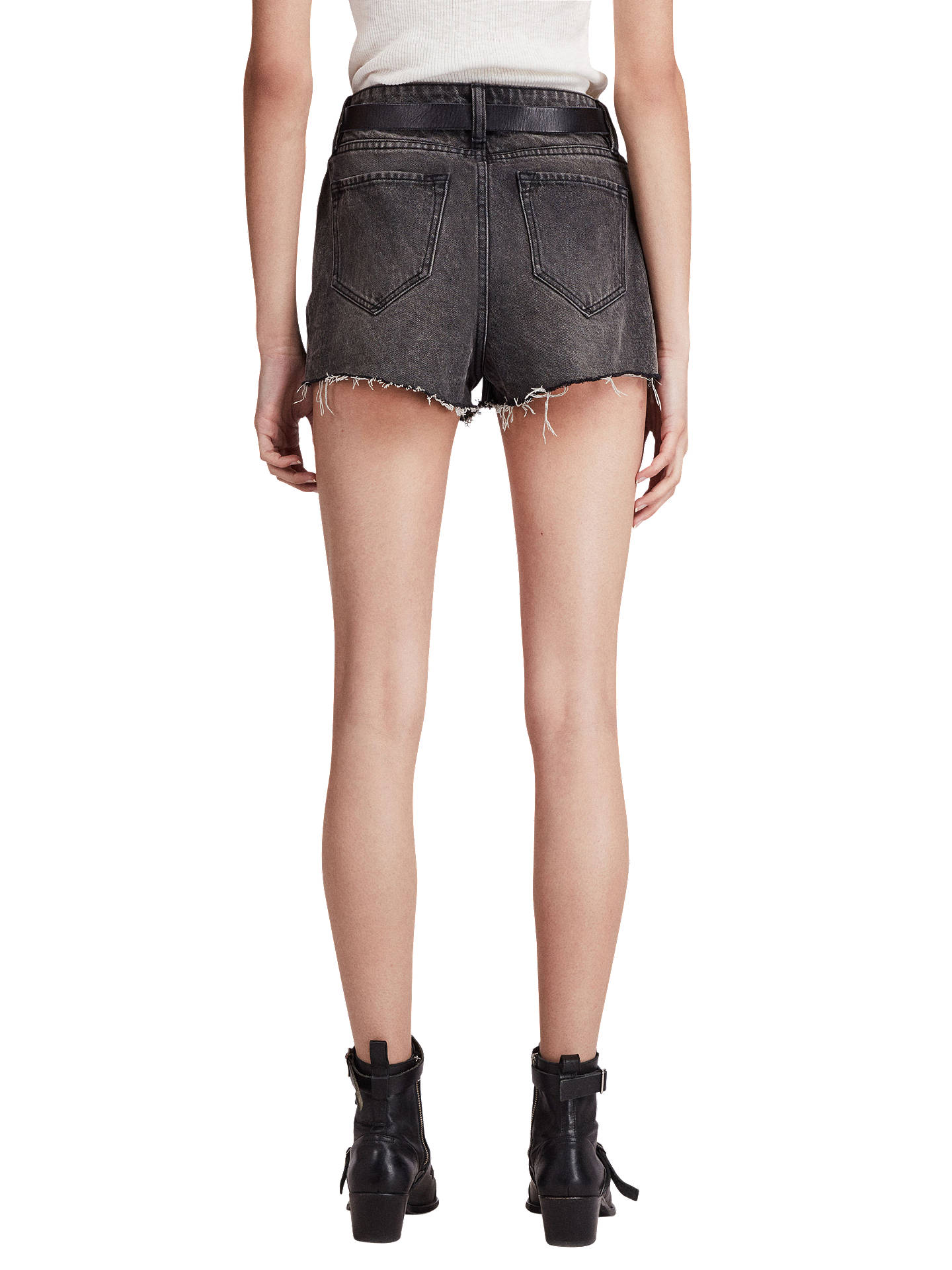 BuyAllSaints Nyla High-Waisted Shorts, Washed Black, 26 Online at johnlewis.com