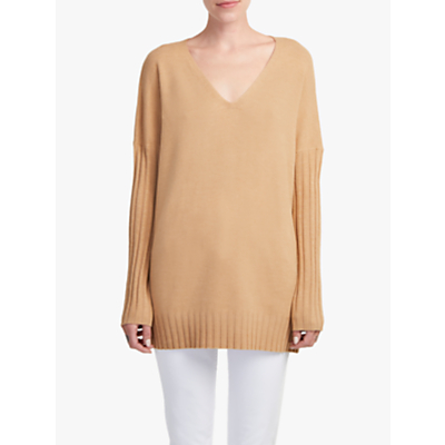 Image of French Connection V-Neck Jumper, Camel Melange