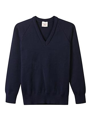 Alleyn's Lower and Middle School Unisex Junior V-Neck Pullover, Navy