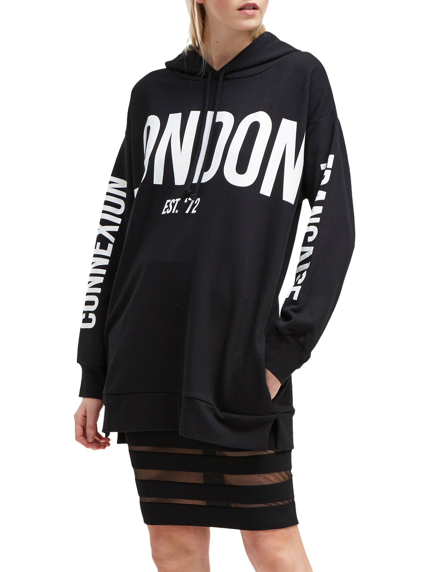3eafa4e8245 Buy French Connection Graphic Jersey Sweatshirt, Black/White, XS Online at  johnlewis.