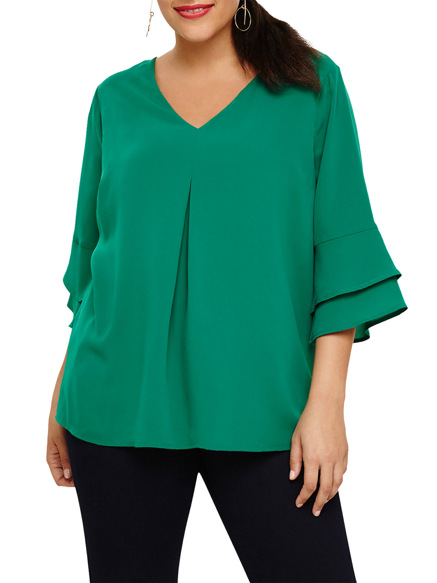 Buy Studio 8 Fluted Sleeve Top, Green, 24 Online at johnlewis.com