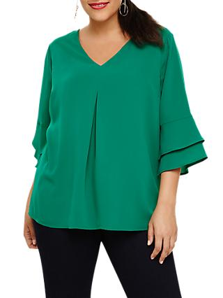 Studio 8 Fluted Sleeve Top, Green