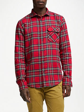 Buy Scotch & Soda Brushed Check Shirt, Red, L Online at johnlewis.com