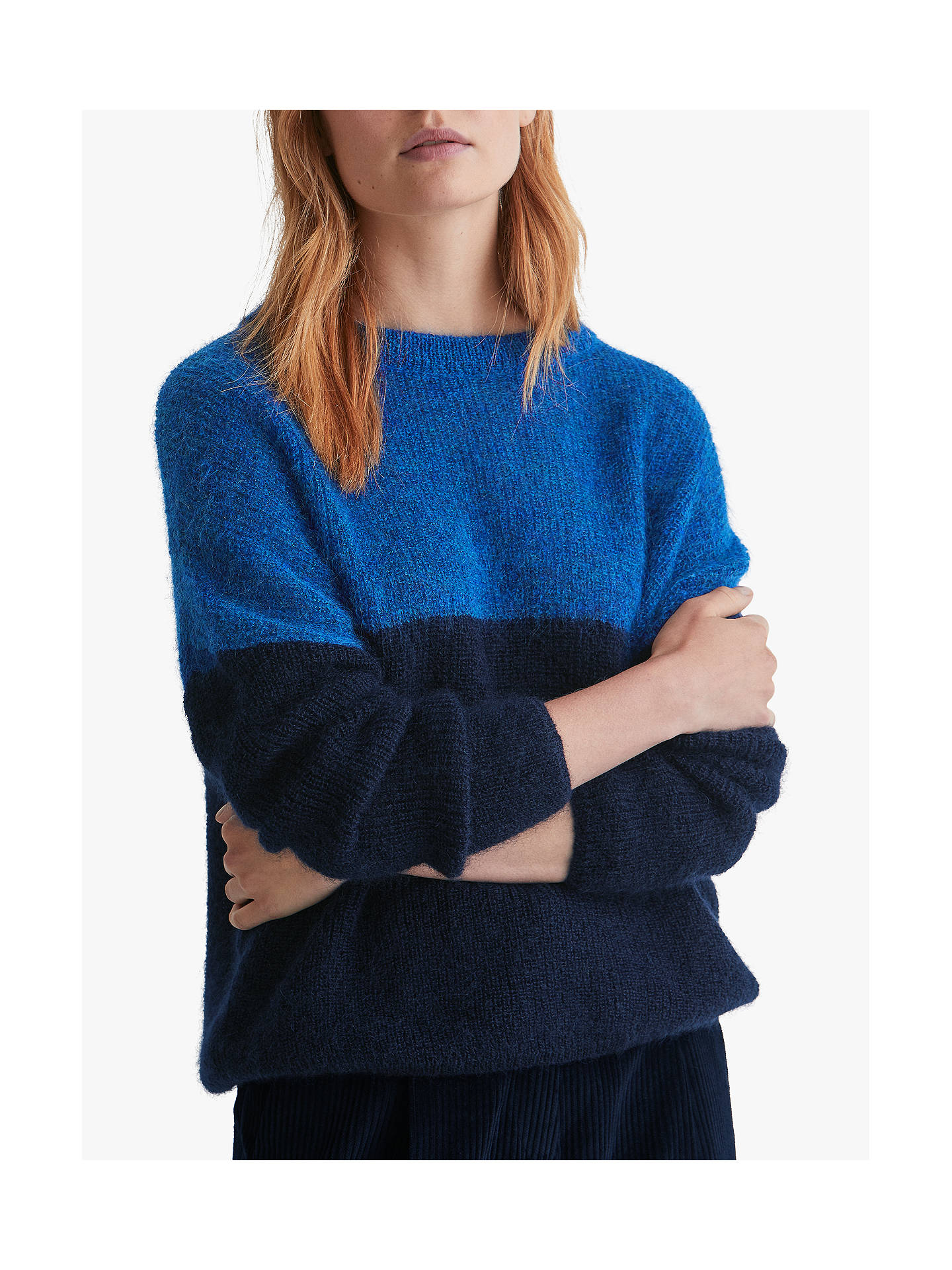 Toast Mohair Colour Block Jumper, CobaltNavy at John Lewis