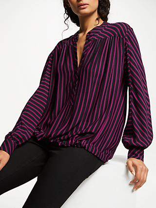 AND/OR Rosetta Blouse, Black/Pink Stripe