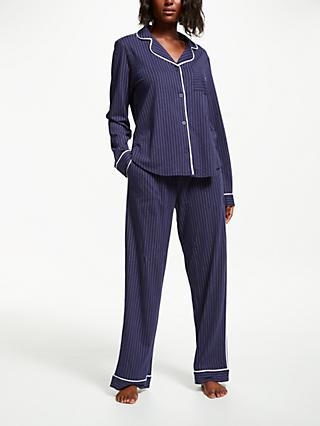 DKNY Signature Stripe Classic Pyjama Set, Navy