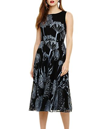 Phase Eight Franchesca Floral Dress, Black/Airforce