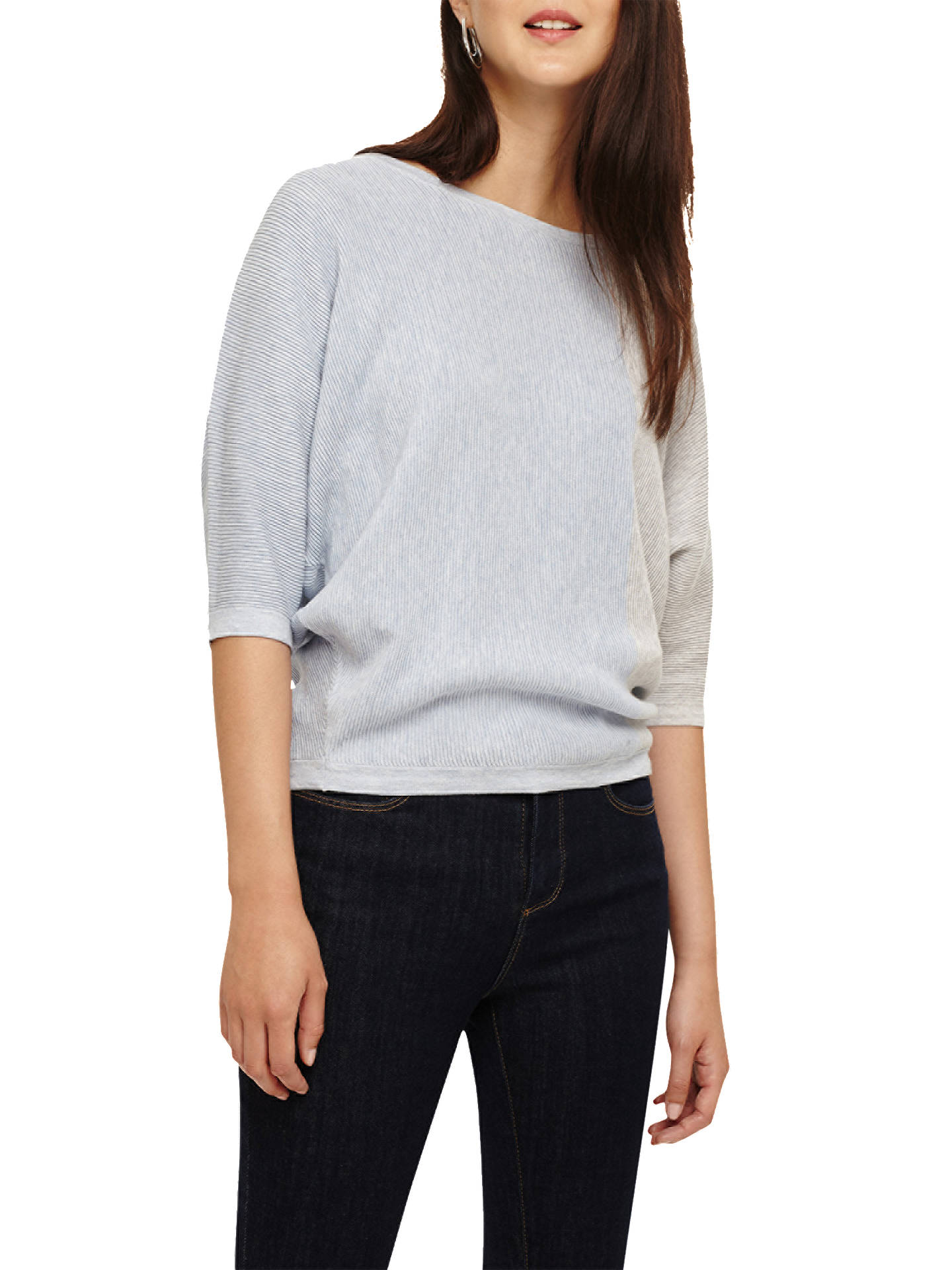 099c3c2fd0a488 Buy Phase Eight Cristine Colourblock Ripple Stitch Knitted Top, Blue/Ivory,  XS Online ...