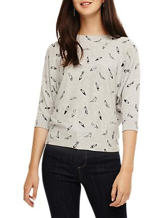 Phase Eight Christa Shoe Print Jumper, Grey Marl