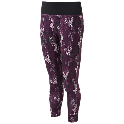 Ronhill Momentum Cropped Running Tights, Aubergine Cloud